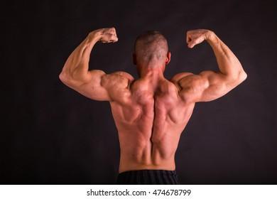 Novice bodybuilder posing