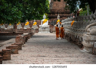 Novice monk asia walking with budhha in the temple of Ayutthaya Thailand