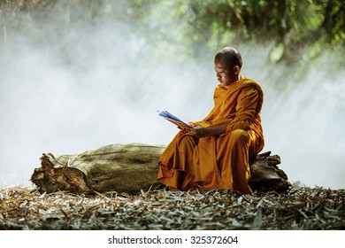 Novice monk learning in the Thailand.