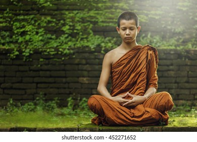 Novice monk meditating