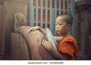 Novice monk reading book of Buddhism and spiritual religion of Buddha in the temple of Thailand
