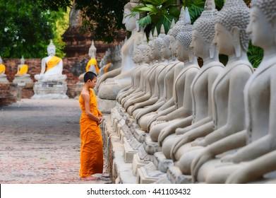 Novice standing Buddha image  Asia in Thailand .