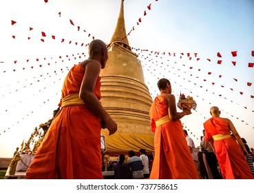 the novice walk around the pagoda at the Wat Saket, Bangkok,Thailand