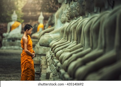 Novices monk vipassana meditation at front of Buddha statue