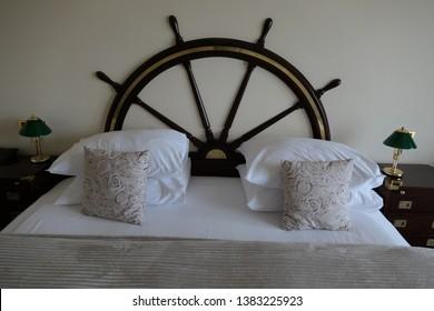 Novigrad Croatia April 2nd 2019 bed in nautica sea style as boat