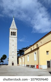 NOVIGRAD, CROATIA - SEPTEMBER 29: The parish church of St. Pelagius was until 1828 Cathedral of the Diocese of Cittanova, Novigrad, Croatia, on September 29, 2017.