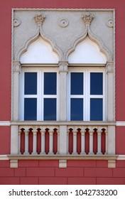 NOVIGRAD, CROATIA - SEPTEMBER 29: Venetian windows on the historic house in Novigrad, Croatia, on September 29, 2017.