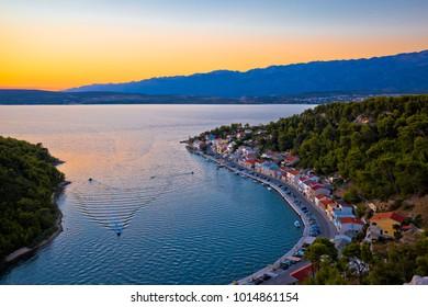 Novigrad Dalmatinski bay panoramic aerial view at sunset, Dalmatia region of Croatia
