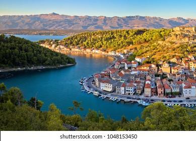 Novigrad Dalmatinski bay panoramic view, Dalmatia, Croatia