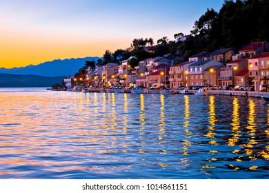 Novigrad Dalmatinski bay view at sunset, Dalmatia region of Croatia