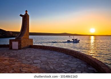 Novigrad Dalmatinski beacon and sea at sunset view, Dalmatia region of Croatia