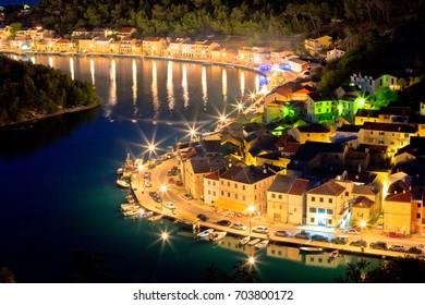 Novigrad Dalmatinski waterfront at evening aerial view, Dalmatia, Croatia