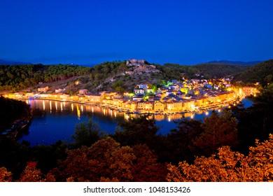 Novigrad Dalmatinski waterfront at evening view, Dalmatia, Croatia