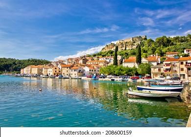 Novigrad dalmatinski waterfront panoramic view, Dalmatian coast, Croatia