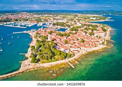 Novigrad Istarski historic coastal town aerial view, archipelago of Istria, Croatia