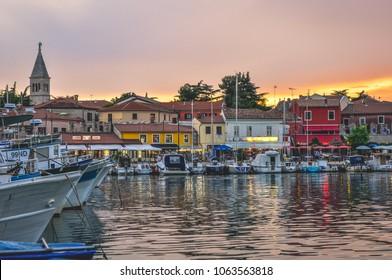 Novigrad, Istria/Croatia - 14 July 2015: Small city Novigrad in Croatia during sunset