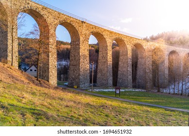 Novina Viaduct - old stone railway bridge near Krystofovo Udoli, Czech Republic. - Shutterstock ID 1694651932