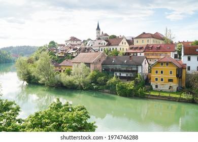 Novo Mesto old town, view from the bridge over Krka river, Novo Mesto, Dolenjska region, Slovenia. - Shutterstock ID 1974746288
