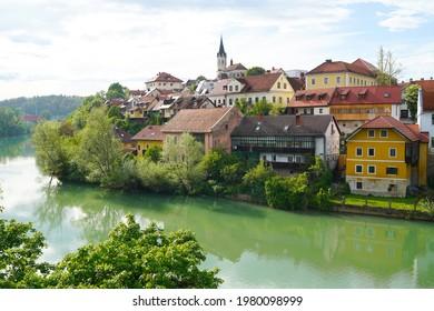 Novo Mesto old town, view from the bridge over Krka river, Novo Mesto, Dolenjska region, Slovenia. - Shutterstock ID 1980098999