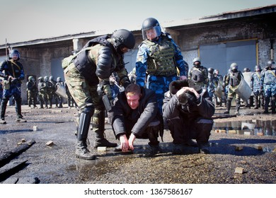 Novoaltaysk,Russia-April 10, 2019.Teachings in the penal colony for the release of hostages
