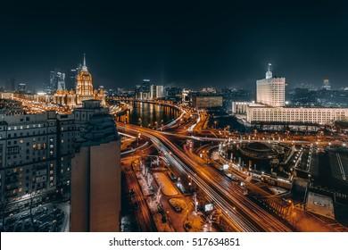 Novoarbatsky bridge, Government Building, Ukraine Hotel during night in Moscow