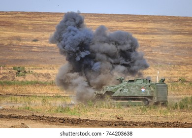 NOVOCHERKASSK, RUSSIA, 26 AUGUST 2017: Military self-propelled radio-controlled robot sapper clears the minefield