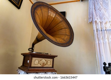 NOVOCHERKASSK, RUSSIA - CIRCA NOVEMBER, 2019: Vinyl record played on old retro vintage gramophone