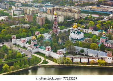 Novodevichiy convent in Moscow, Russia - aerial view