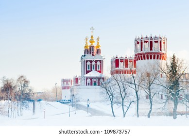 Novodevichiy convent. Winter day in Moscow, Russia