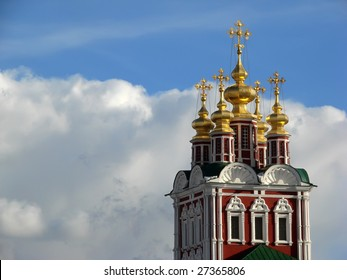 Novodevichy convent against blue sky with dramatic clouds