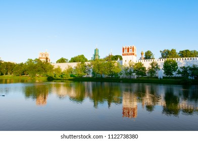 The Novodevichy Convent, also Bogoroditse-Smolensky Monastery seen under sunset in Moscow , Russia.