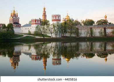 Novodevichy convent in the early morning (view from the lake)
