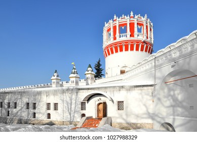 Novodevichy Convent, also known as Bogoroditse-Smolensky Monastery. Naprudnaya Tower (17 century). Moscow, Russia