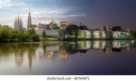 Novodevichy convent, also known as Bogoroditse-Smolensky monastery. Day-to-night combination of two high dynamic range photos, taken from same point.