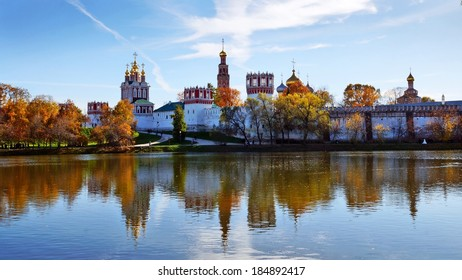 Novodevichy Convent and its mirror image on the water surface, Moscow, Russia