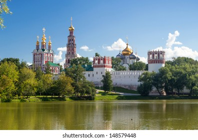 Novodevichy convent in Moscow, Russia. Novodevichy convent is one of the main tourist attractions of Moscow. Beautiful scenic view of old monastery in summer. Historical architecture of Moscow.