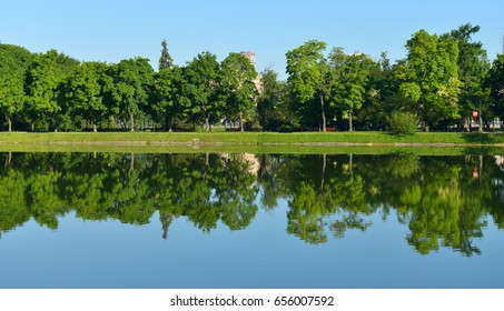 Novodevichy Pond in Moscow, Russia. Mirror reflection