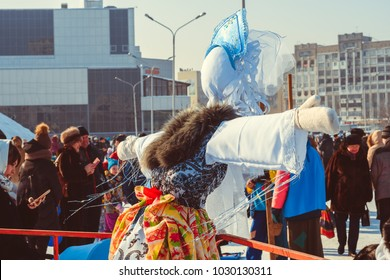 Novokuzneck, Russia - 18.02.2018: the effigy of Maslenitsa