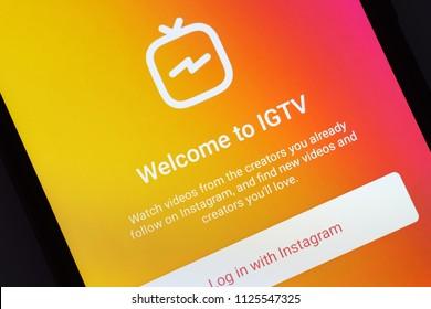 NOVOKUZNETS, RUSSIA - June 29, 2018: Istagram IGTV on smartphone screen.