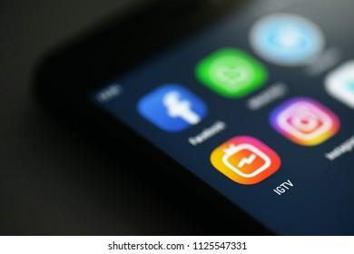 NOVOKUZNETS, RUSSIA - June 29, 2018: Istagram IGTV icon on smartphone screen.