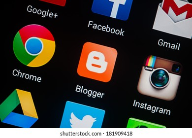 NOVOKUZNETS, RUSSIA - MARCH 13, 2014: Closeup photo of Blogger icon on mobile phone screen.
