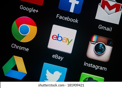NOVOKUZNETS, RUSSIA - MARCH 13, 2014: Closeup photo of Ebay icon on mobile phone screen.