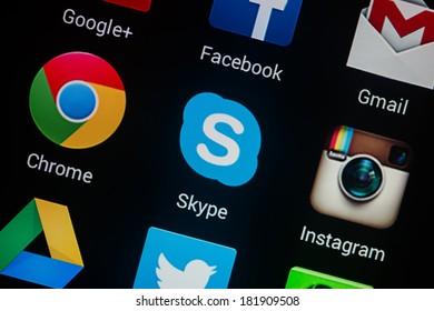 NOVOKUZNETS, RUSSIA - MARCH 13, 2014: Closeup photo of Skype icon on mobile phone screen.
