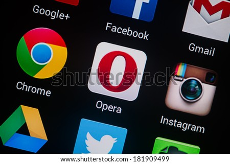 NOVOKUZNETS, RUSSIA - MARCH 13, 2014: Closeup photo of Opera icon on mobile phone screen.