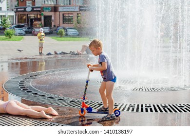 Novokuznetsk, Kemerovo Region, Russia - August 04, 2018: Happy children splashing in a water of a city fountain and enjoying the cool streams of water in a hot day. Hot summer.
