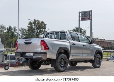 Novokuznetsk, Russia - August 24, 2017: Toyota Hilux in dealership Toyota in Novokuznetsk