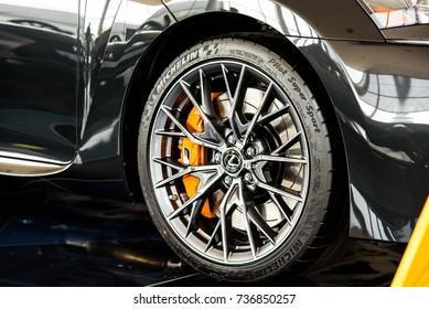 Novokuznetsk, Russia - August 24, 2017: Tire Michelin pilot super sport on Lexus GS F in dealership Lexus in Novokuznetsk