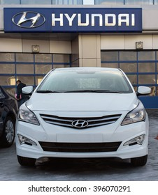 Novokuznetsk, Russia - March 22, 2016: Car Hyundai Accent (Solaris) on ice.