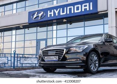 Novokuznetsk, Russia - March 22, 2016: Car Hyundai Genesis on office of dealer Hyundai.