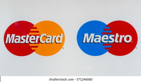 Novokuznetsk, Russia - may 17, 2016: Mastercard and Maestro logo printed on paper and placed on white background. MasterCard Worldwide is an American multinational financial services corporation.